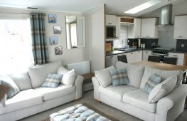 Large open plan living space with lots of light from french doors